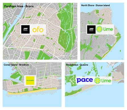 Four maps depicting the dockless  bike share of pilot areas in the Fordham area of the Bronx, North Shore of Staten Island, Coney Island in Brooklyn, and the Rockaways in Queens.