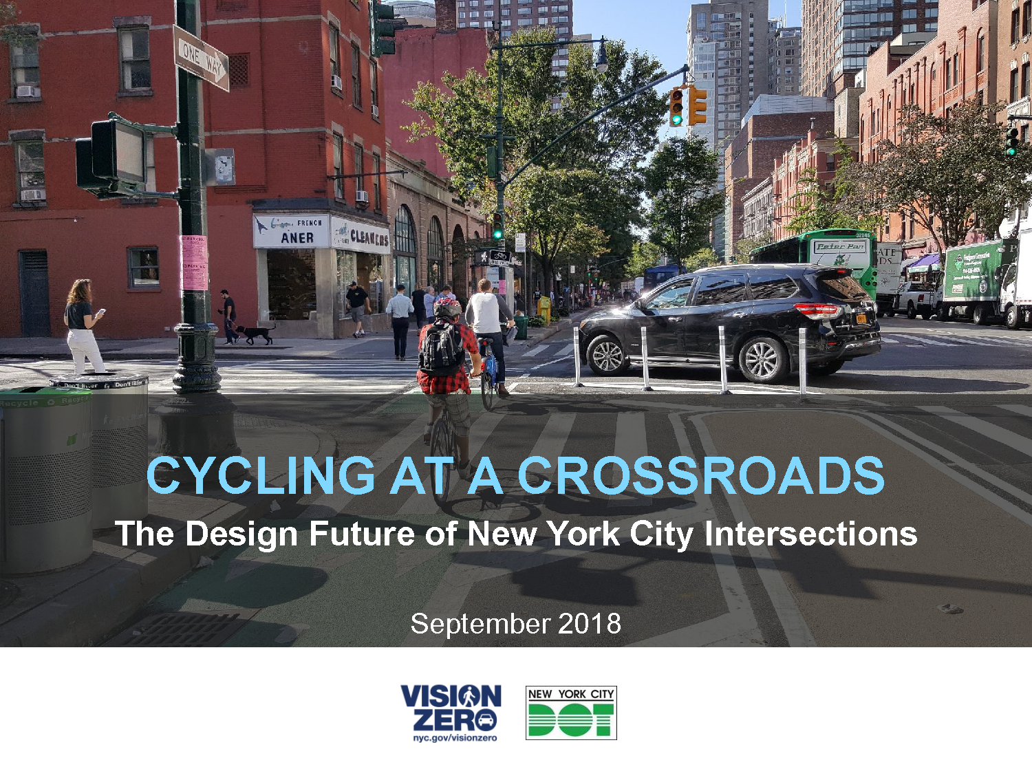 "Cover slide for ""Cycling at a crossroads"" report. It shows two cyclists in a new style of intersection calle d""offset crossings""."
