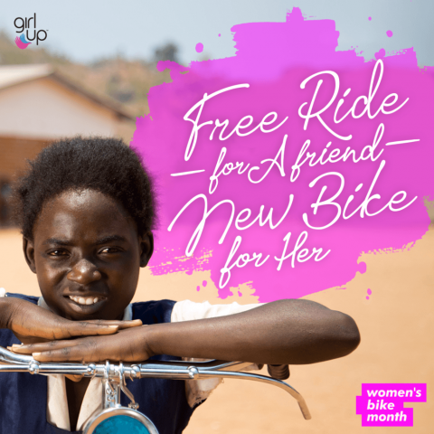 "A young girl on a bike. next to her, text reads ""Free Ride for a friend. New Bike for her."""
