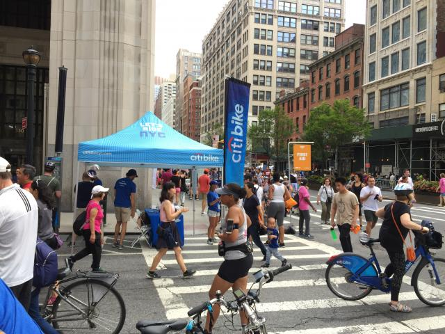 A Citi Bike tent at last year's Summer Streets event.