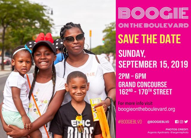 A flyer for Boogie on the Blvd. Featured on it is a family of four, smiling at the camera.
