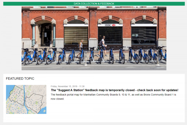 A screenshot of the Citi Bike Phase 3 expansion feedback portal