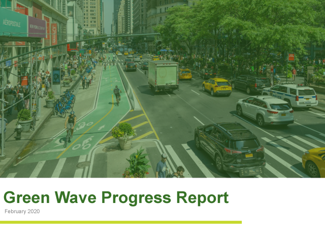 "The cover slide of the ""Green Wave Progress Report - February 2020"""
