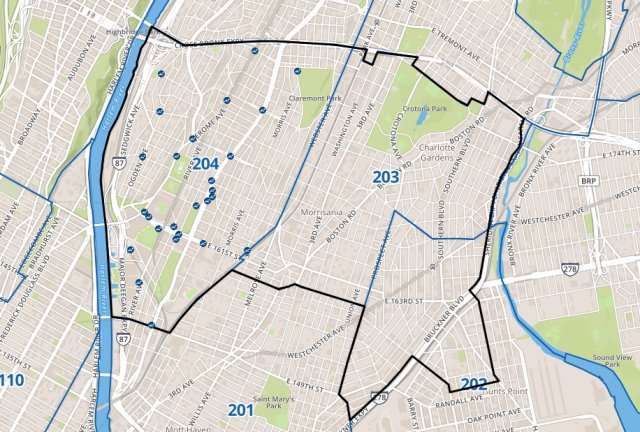 A screenshot of the feedback portal map. It is centered over Bronx Community Boards 2, 3, and 4.