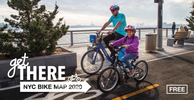 The 2020 bike map, showing an adult on a Citi Bike and their young child riding a regular bike.
