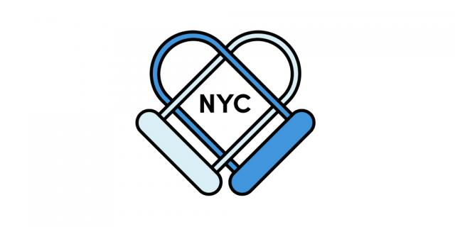 "A logo that CIti Bike is using during this time, of two bike locks that form a heart over the letters ""NYC"""
