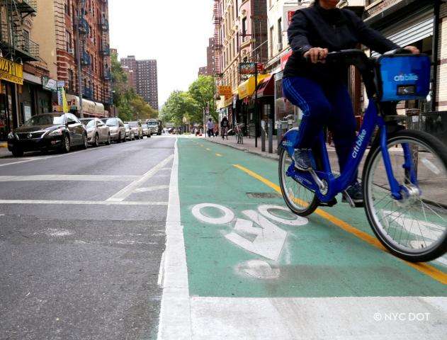 A closeup of a protected bike lane, with someone riding a Citi Bike.