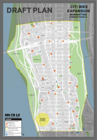 the draft plan for Citi Bike stations in Manhattan CB 12