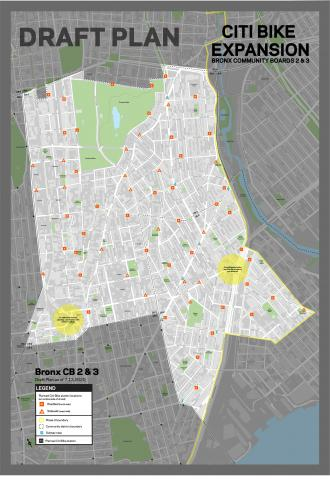 Draft Plan of Citi Bike stations in Bronx Community Boards 2 & 3