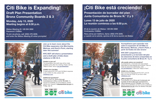 A flyer for the draft plan presentation for stations in Bronx Community Board 2 & 3