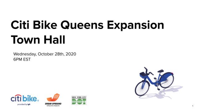 "The cover slide of the "" Citi Bike Queens Expansion Town Hall"""