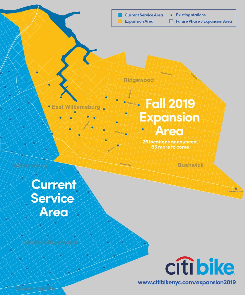 A graphic showing the Fall 2019 expansion area with the current service area.