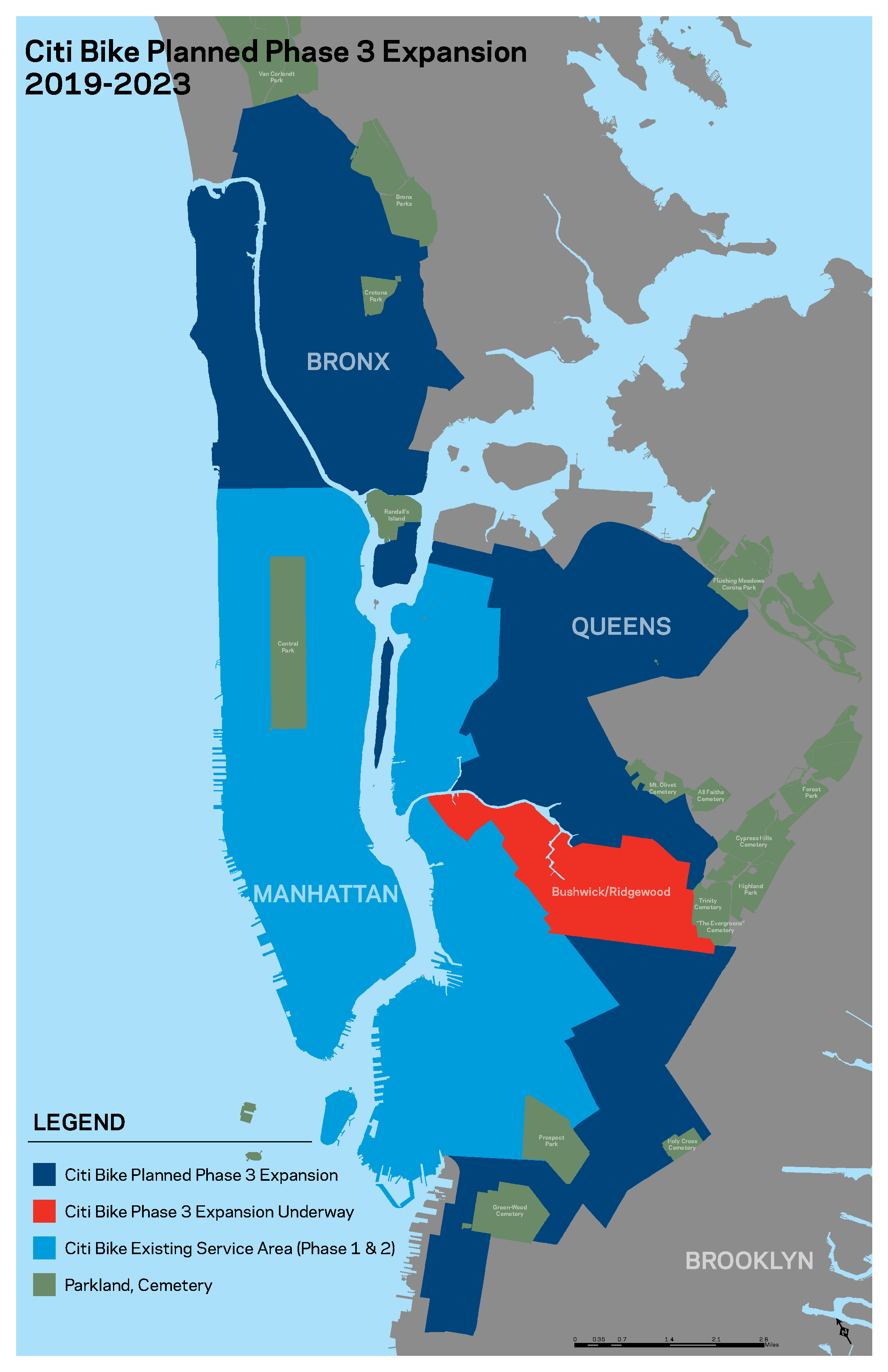A map of the Phase 3 boundaries of Citi Bike. Citi Bike will enter the Bronx for the first time, fill out Manhattan, and continue to expand into neighborhoods like Corona & Sunset Park in Queens and Brooklyn, respectively.
