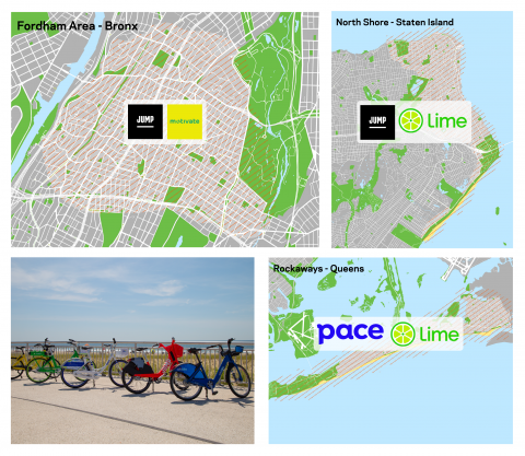 3 maps showing each of the boundaries of the dockless bike share pilot, as well as what vendor is operating in each section.